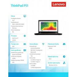 """Lenovo ThinkPad P51 2.8GHz i7-7700HQ 15.6"""" 1920 x 1080piksele Czarny Mobilna stacja robocza"""