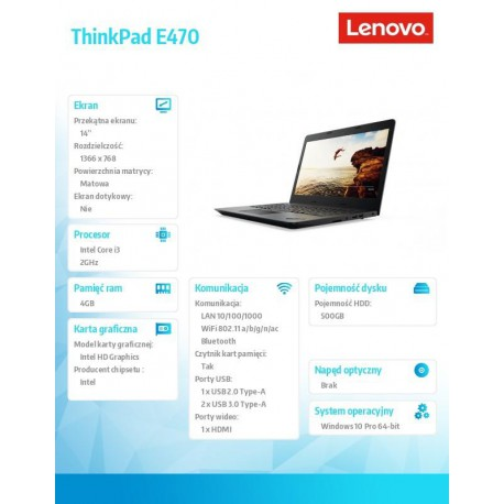 LENOVO ThinkPad E470 i3-6006U 14inch